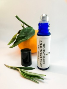 roll on handmade natural perfume aromatherapy with rosemary tangerine essential oil